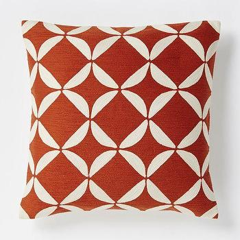 Pillows - Crewel Circlet Pillow Cover - Cayenne | West Elm - rust red geometric pillow, rust red crewelwork pillow, rust red retro pillow,