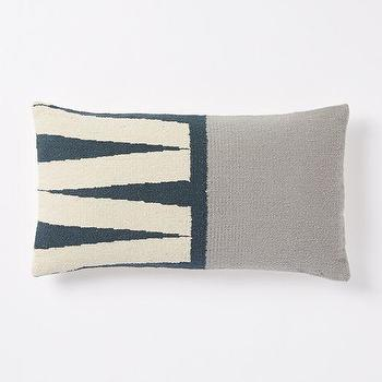 Pillows - Steven Alan Color Block Zigzag Pillow Cover Blue Lagoon | West Elm - blue and gray lumbar pillow, blue and gray zigzag pillow, blue gray and ivory lumbar pillow,