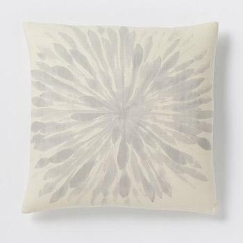 Pillows - Chrysanthemum Silk Pillow Cover - Platinum | West Elm - gray floral pillow, floral silk pillow, chrysanthemum print pillow,