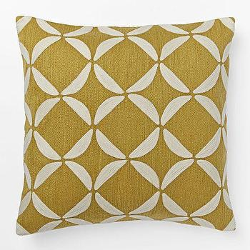 Pillows - Crewel Circlet Pillow Cover - Horseradish | West Elm - mustard yellow crewelwork pillow, mustard yellow retro pillow, mustard yellow circles pillow,