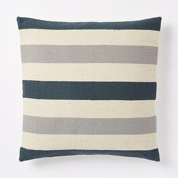 Pillows - Steven Alan Bold Stripe Pillow Cover - Blue Lagoon | West Elm - blue and gray striped pillow, blue gray and ivory pillow, striped navy and gray pillow,