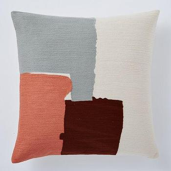 Pillows - Steven Alan Abstract Crewel Pillow Cover Rose Bisque | West Elm - abstract pillow, abstract crewel pillow, pink gray and brown pillow,