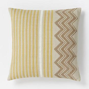 Pillows - Hand-Blocked Chevron Pillow Cover Horseradish | West Elm - yellow and beige striped chevron pillow, yellow and beige geometric pillow, indian silk pillow, hand blocked chevron pillow,