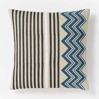 Pillows - Hand-Blocked Chevron Pillow Cover Blue Lagoon | West Elm - hand blocked chevron pillow, indian silk pillow, black and blue striped chevron pillow, striped chevron pillow,
