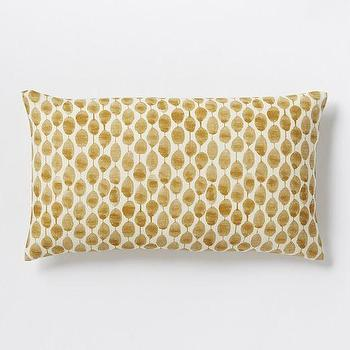 Pillows - Stamped Dot Silk Pillow Cover | West Elm - gold dot pillow, dot dot lumbar pillow, gold and ivory lumbar pillow,