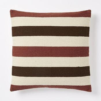 Pillows - Steven Alan Bold Stripe Pillow Cover - Huckleberry | West Elm - maroon and brown striped pillow, striped wool pillow, maroon brown and cream pillow,