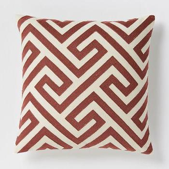 Pillows - Crewel Key Pillow Cover - Cayenne | West Elm - rust and ivory pillow, red and ivory greek key pillow, rust colored geometric pillow,