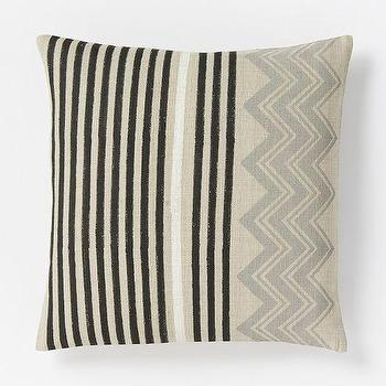 Pillows - Hand-Blocked Chevron Pillow Cover Slate | West Elm - black and gray geometric pillow, striped chevron pillow, indian silk pillow, black and gray geometric pillow,