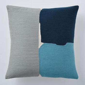 Pillows - Steven Alan Abstract Crewel Pillow Cover Blue Lagoon | West Elm - gray and blue abstract pillow, gray and blue crewelwork pillow, abstract crewel pillow,