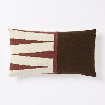 Pillows - Steven Alan Color Block Zigzag Pillow Cover - Huckleberry | West Elm - brown and red lumbar pillow, brown and red zigzag pillow, brown and red geometric pillow,