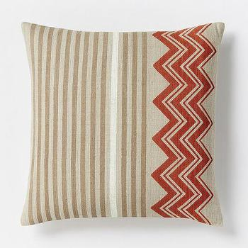 Pillows - Hand-Blocked Chevron Pillow Cover Cayenne | West Elm - indian silk pillow, hand blocked chevron pillow, beige and red pillow, striped chevron pillow,