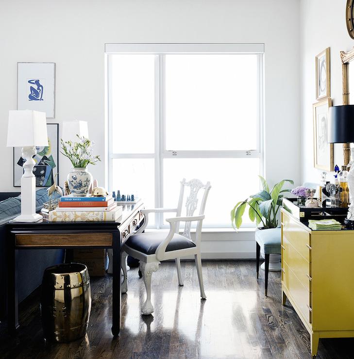 desk behind sofa  eclectic  living room  hallie henley