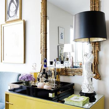 Yellow Cabinet, Eclectic, living room, Hallie Henley Design