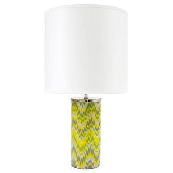 Lighting - Jonathan Adler Carnaby Green Acid Palm Table Lamp  | Amara - modern yellow and gray lamp, yellow and gray zigzag lamp, yellow zigzag table lamp,