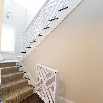 Hallie Henley Design - entrances/foyers - baby gate, white baby gate lattice baby gate, white lattice baby gate, chic baby gates, sisal stair runner,