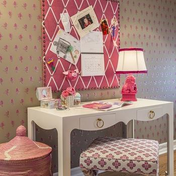 Marks & Frantz - girl's rooms - white desk, bungalow 5 desk, foo dog lamp, pink foo dog lamp, hot pink foo dog lamp, pink hampers, kids desks, 2 drawer desk, x base stool, kids hampers, hot pink pin board, ribbon trimmed pin board,