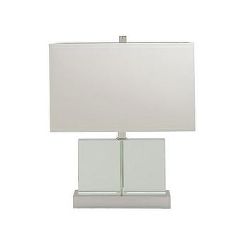 Lighting - Andrew Martin Blade Table Lamp | Amara - square glass table lamp, glass and nickel table lamp, modern glass table lamp,