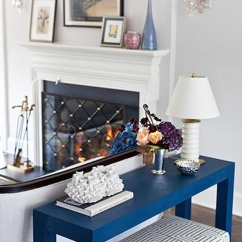 Blue Console Table, Transitional, living room, Benjamin Moore Pale Oak, Marks & Frantz