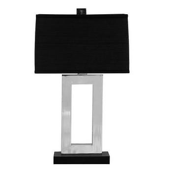 Lighting - Andrew Martin Carrington Table Lamp | Amara - polished chrome table lamp, modern polished chrome table lamp, silver table lamp with black shade,
