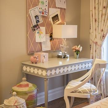 Marks & Frantz - girl's rooms - kids desks, gray desk, white and gray desk, white and gray chair, desk chair, senegalese baskets, pin board, kids pin board, pink pin board, ribbon pin board, pink ribbon pin board, coral table lamp, white coral lamp,