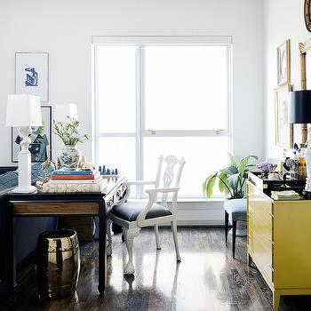 Desk Behind Sofa, Eclectic, living room, Hallie Henley Design