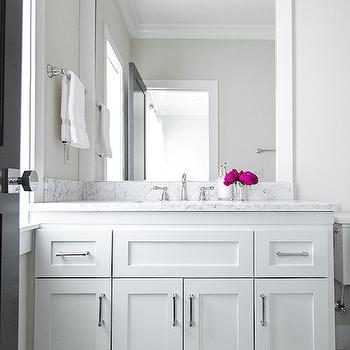 Hallie Henley Design - bathrooms - double light sconce, vanity sconces, parsons mirror, white parsons mirror, vanity parsons mirror, white vanity mirror, white lacquer mirror, white lacquered mirror, white washstand, white vanity, white marble countertop, vintage hex tiles, vintage hex floor,