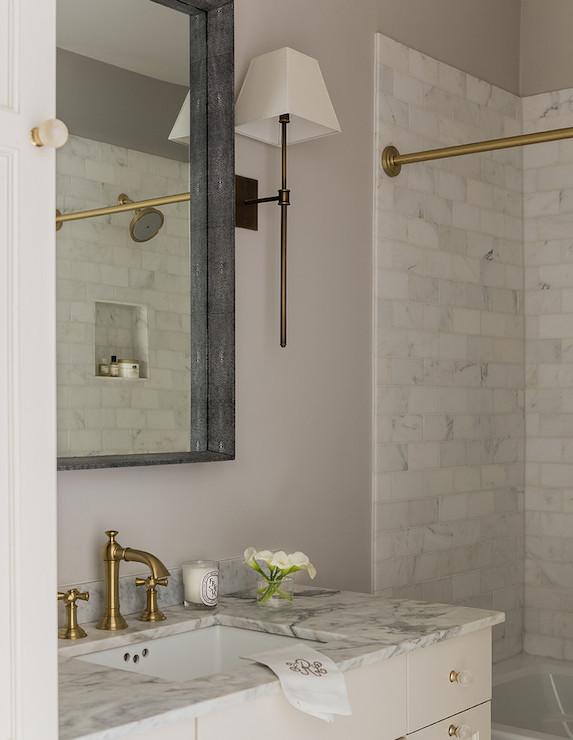 Shagreen Mirror Transitional Bathroom Lovejoy Designs