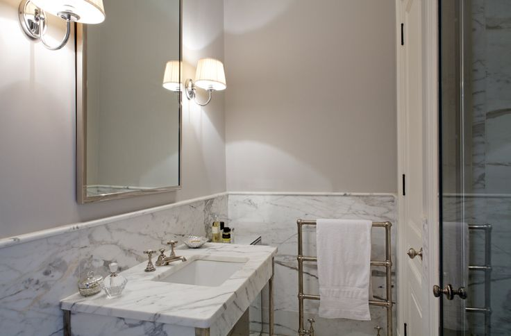 Marble Wainscoting Transitional Bathroom Rients