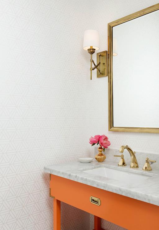 Orange vanity contemporary bathroom hallie henley design for Orange and grey bathroom accessories