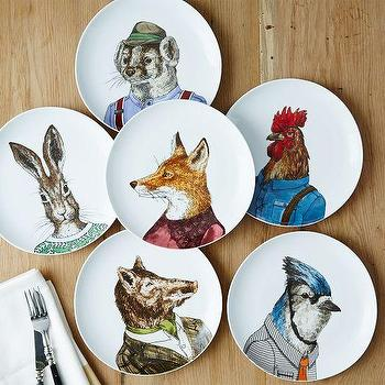 Art/Wall Decor - Dapper Animal Plates | West Elm - animal wall plates, animal head wall plates, decorative animal plates,