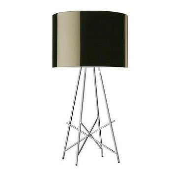 Lighting - Flos Ray Table Lamp - Black | Amara - steel tube table lamp, modern steel table lamp, sculptural chrome table lamp,