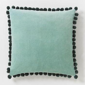 Pillows - Jay Street Ashti Pillow Cover - Light Pool | West Elm - blue velvet pillow, blue pom pom trimmed pillow, pom pom trimmed velvet pillow,