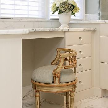 Andrew Roby General Contractors - bathrooms - bathroom make up vanity, make up vanity, built in make up vanity, marble top vanity, vanity stool, french vanity stool,