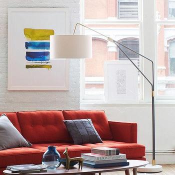 Lighting - Mid-Century Overarching Floor Lamp | West Elm - mid century floor lamp, antiqued bronze floor lamp, mid century arched floor lamp,
