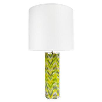 Lighting - Jonathan Adler Carnaby Green Acid Palm Table Lamp - L | Amara - gray and yellow zigzag lamp, retro zigzag lamp, modern yellow and gray lamp,
