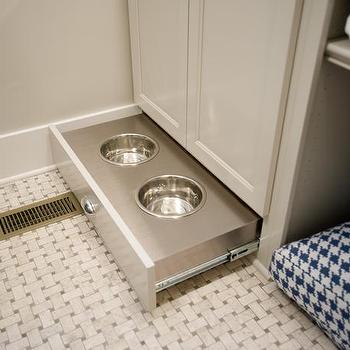 HGTV - laundry/mud rooms - laundry room dog room, dog room, dog room ideas, dog room laundry, dog room laundry room, dog room laundry room combo, laundry room dog room combo, laundry room cabinets, cream cabinets, cream laundry room cabinets, cream laundry cabinets, dog bed, houndstooth dog bed, navy houndstooth dog bed, hidden pet food bowls, hidden pet bowls, pull out dog bowls, hidden dog bowls, basketweave floor,