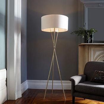 Lighting - Mid-Century Tripod Floor Lamp | West Elm - antiqued brass floor lamp, brass tripod floor lamp, mid century tripod floor lamp,