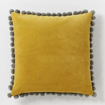 Pillows - Jay Street Ashti Pillow Cover - Horseradish | West Elm - mustard yellow velvet pillow, pom pom trimmed velvet pillow, mustard yellow pom pom trimmed pillow,