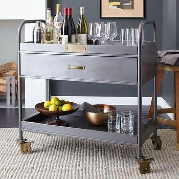 Storage Furniture - Workshop Bar Cart | West Elm - industrial bar cart, metal bar cart, metal and brass bar cart,