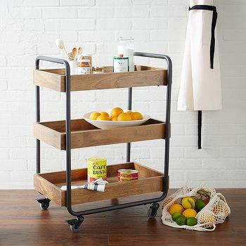 Seating - Wood Kitchen Caddy | West Elm - wooden kitchen caddy wood and iron caddy, wood and iron bar cart, wood and iron kitchen cart,