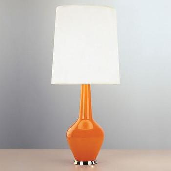 Lighting - Jonathan Adler Capri Bottle Table Lamp - Orange | Amara - orange glass lamp, orange glass table lamp, retro orange table lamp,