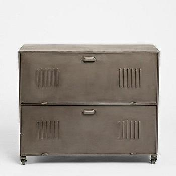 Storage Furniture - 4040 Locust Rolling Media Console I Urban Outfitters - iron media cabinet, metal locker media cabinet, locker style media console,