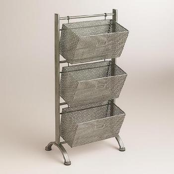 Storage Furniture - Zinc Jeremy 3-Basket Storage | World Market - hanging metal baskets, industrial metal basket stand, industrial floor stand with baskets,