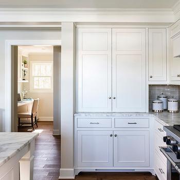 Gray Ceramic Subway Tiles, kitchen, Benjamin Moore Winds Breath, Liz Schupanitz Designs