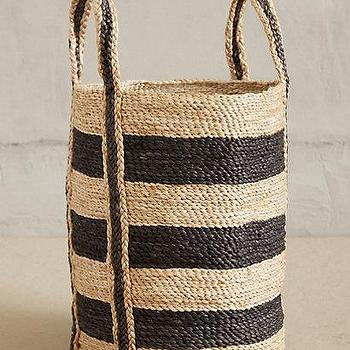 Decor/Accessories - Lost & Found Woven Stripe Basket I anthropologie.com - striped woven basket, black striped woven basket, indian striped basket,