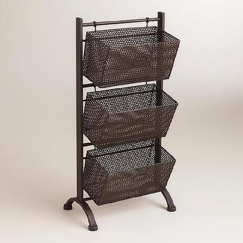 Storage Furniture - Espresso Jeremy 3-Basket Storage | World Market - metal basket storage, floor stand with baskets, industrial hanging baskets,