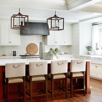 Elle Scrase - kitchens - paneled kitchens, coffered ceiling, coffered kitchen ceiling, kitchen lanterns, kitchen island lanterns, island lanterns, cherry kitchen island, cherry stained island, cherry stained kitchen island, white marble countertop, upholstered barstools, shaker cabinets, shaker kitchen cabinets, perimeter cabinets, gray subway tiles, gray subway tiled backsplash, metal kitchen hood, barrel kitchen hood, farmhouse sink, cafe curtains, sheer cafe curtains, kitchen sheers, kitchen cafe curtains,