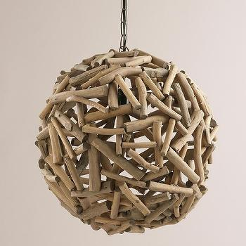 "Lighting - 18"" Driftwood Orb Chandelier I World Market - round driftwood chandelier, orb shaped driftwood chandelier, sphere shaped driftwood chandelier,"