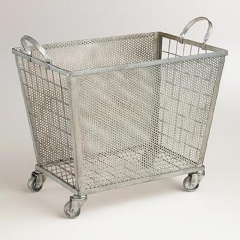 Storage Furniture - Zinc Oliver Rolling Cart | World Market - zinc rolling cart, zinc rolling hamper, industrial rolling cart,