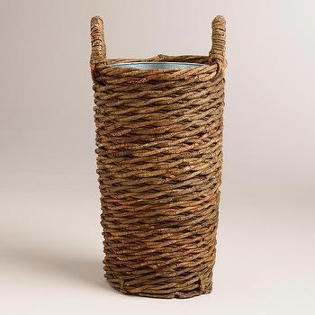 Decor/Accessories - Manuela Umbrella Stand | World Market - woven umbrella basket, woven umbrella stand, woven umbrella stand with handles,